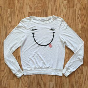 NEW WILDFOX COUTURE SMILEY FACE SWEATER SZ XS